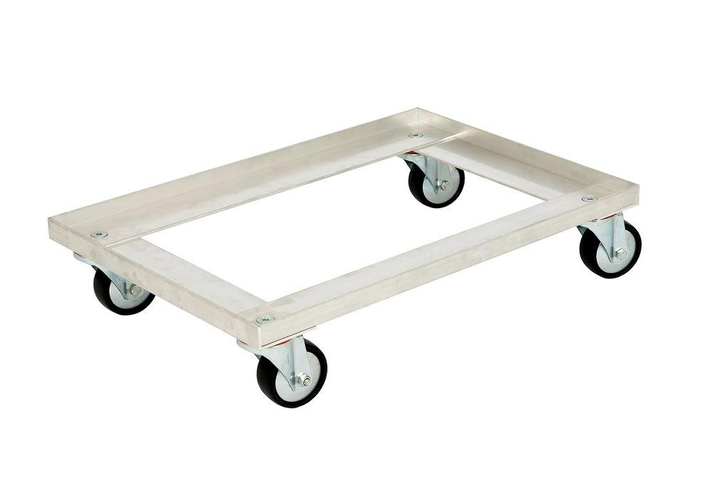 Dolly for Euronorm boxes, in aluminium, open design, 618 x 420 mm