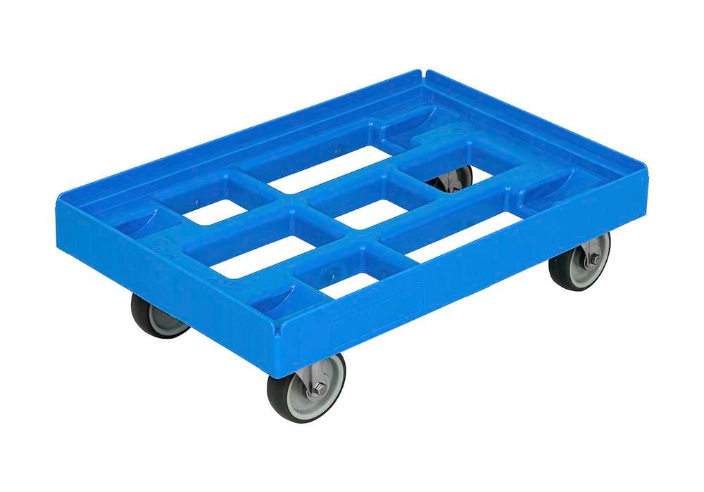 Dolly for Euronorm boxes in HDPE, 610 x 410 mm, light blue - 1