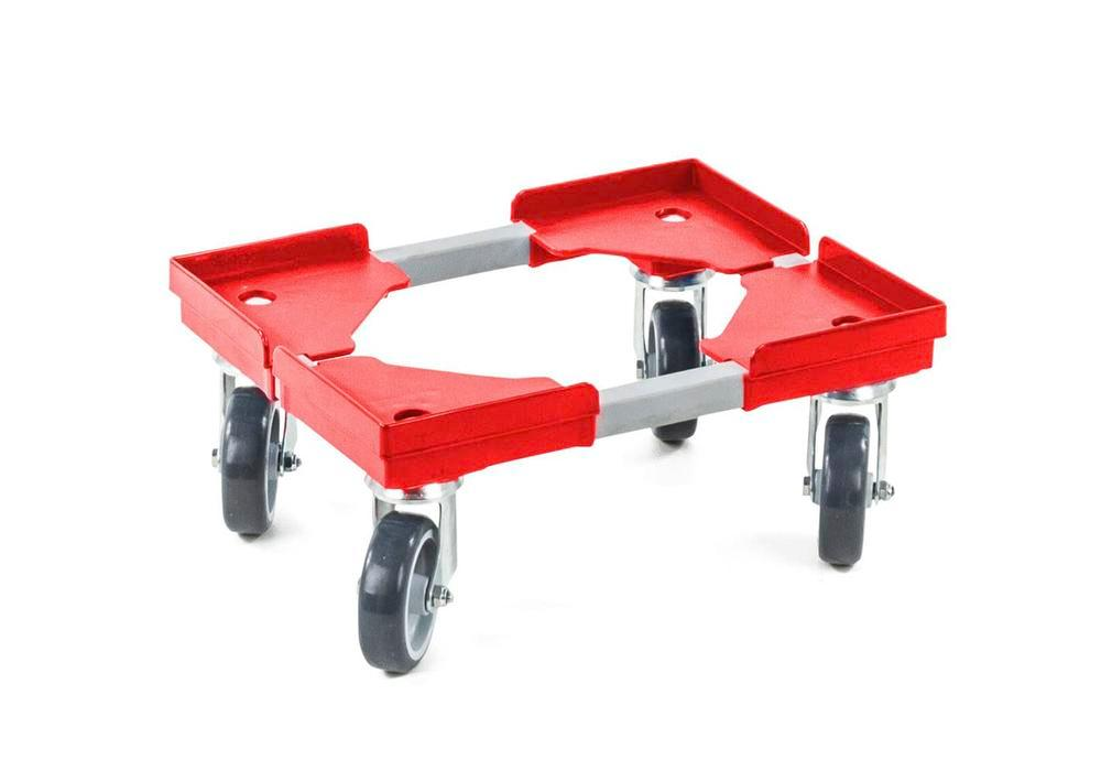Dolly for Euronorm boxes, steel profile with plastic corners, 310 x 410 mm, red