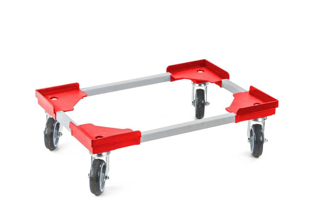 Dolly for Euronorm boxes, steel profile with plastic corners, 410 x 610 mm, red