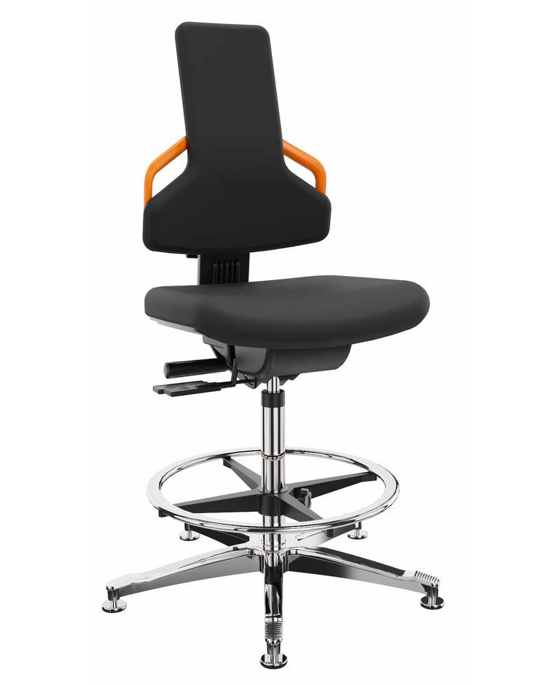 ESD work chair cover fabric black, aluminium base, floor glide, foot ring