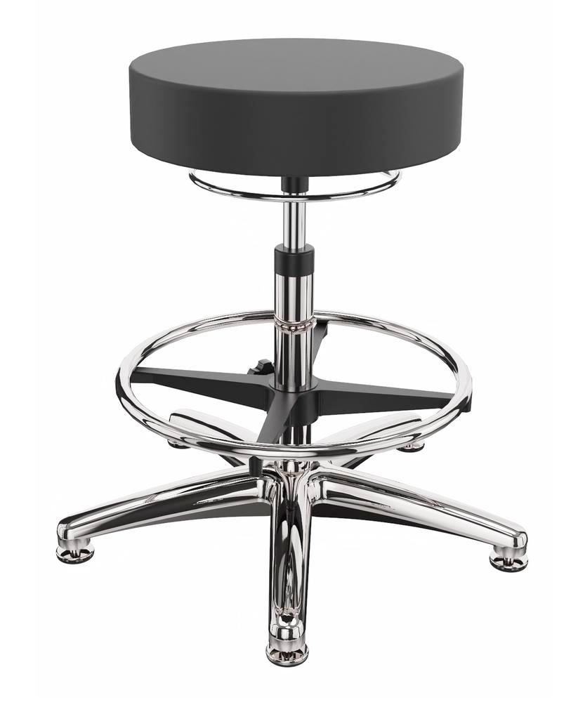 ESD work stool imitation leather, aluminium base, floor glide, foot ring - 1