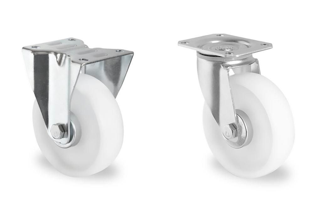 Extra cost for castor set in PA, 2 swivel castors and 2 fixed castors, ø 108 mm - 1