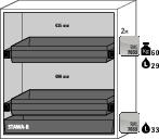 Fire rated haz. mat. cabinet Edition, with 2 slide-out sumps, grey wing doors, One-Touch, Type G 122