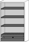 """Fire-rated hazmat cabinet GF 1201 """"one touch"""", 3 shelves, yellow"""