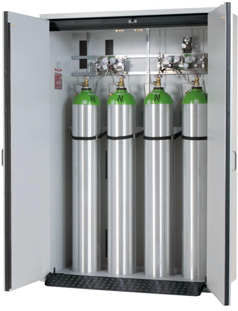 Fire-resistant compressed air gas cylinder cabinet G30.14, 1400 mm wide, 2 hinged doors, grey