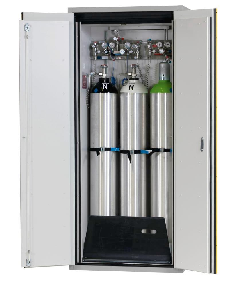 Fire-resistant compressed air gas cylinder cabinet G90.9, 900 mm wide, 2 hinged doors, yellow