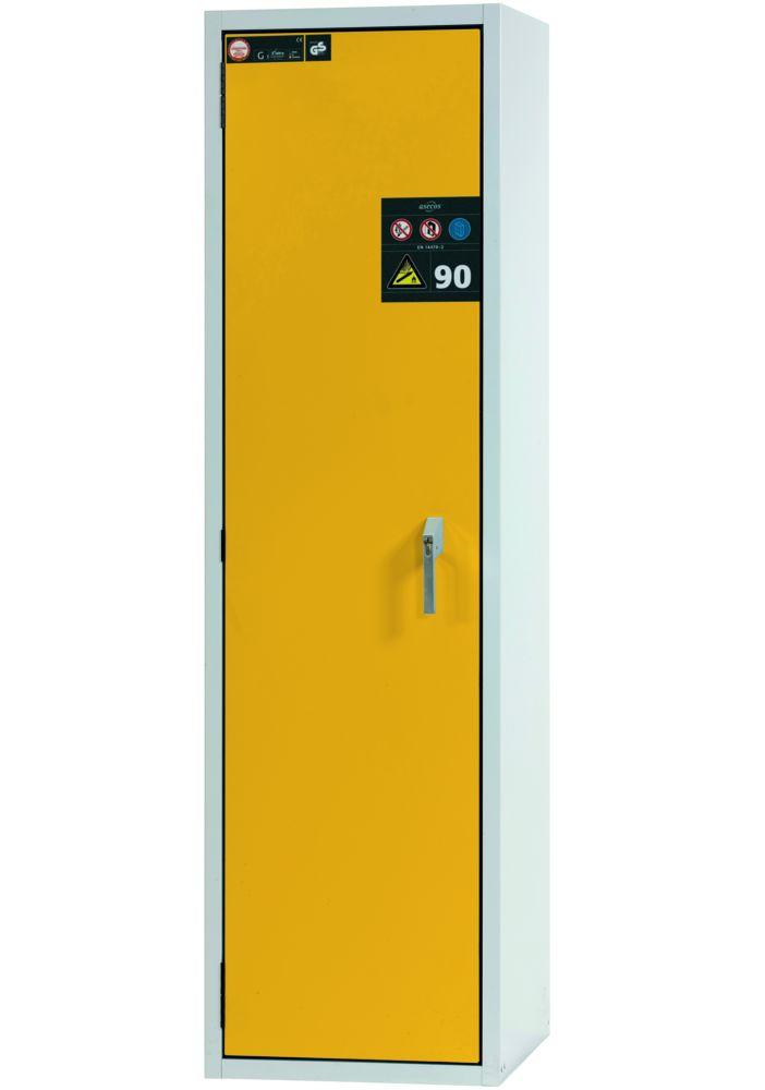 Fire-resistant gas cylinder cabinet G90.6-2F, 600 mm wide, door opening right, grey/yellow