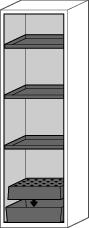 Fire Resistant Safety Cabinet G-601, grey, right hinged door, 3 shelves, insert & spill tray - 5
