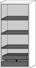 Fire Resistant Safety Cabinet G-901, grey, including 3 shelves, perforated insert & spill tray