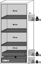 Fire Resistant Safety Cabinet G-901, grey, including 3 shelves, perforated insert & spill tray - 6