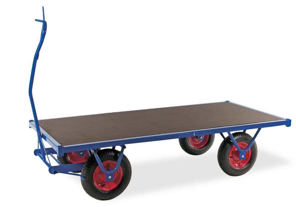 Heavy duty trolley KM with handle, powder coated, 1500 kg, pneumatic tyres, parking brake