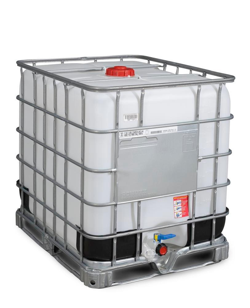 IBC container, steel frame pallet, 1000 litre, NW150 opening, NW50 drain - 1