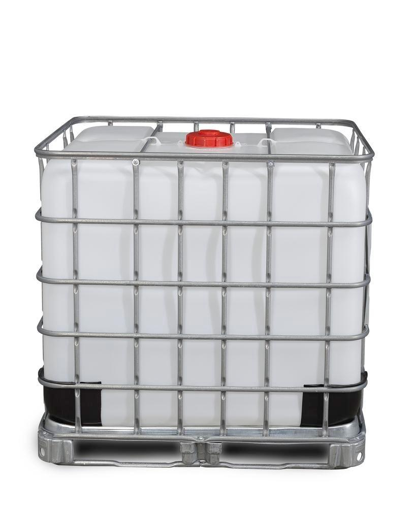 IBC container, steel frame pallet, 1000 litre, NW150 opening, NW50 drain