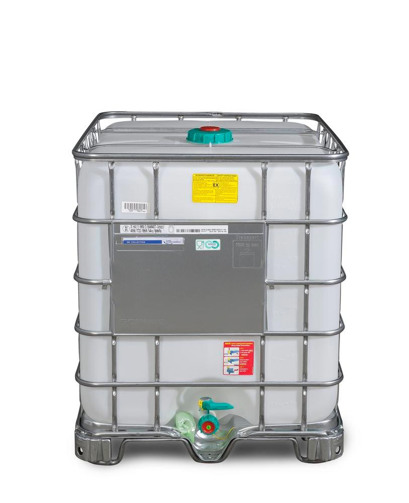 IBC hazardous goods container, Ex Design, steel runners, 1000 litre, NW150 opening, NW50 drain