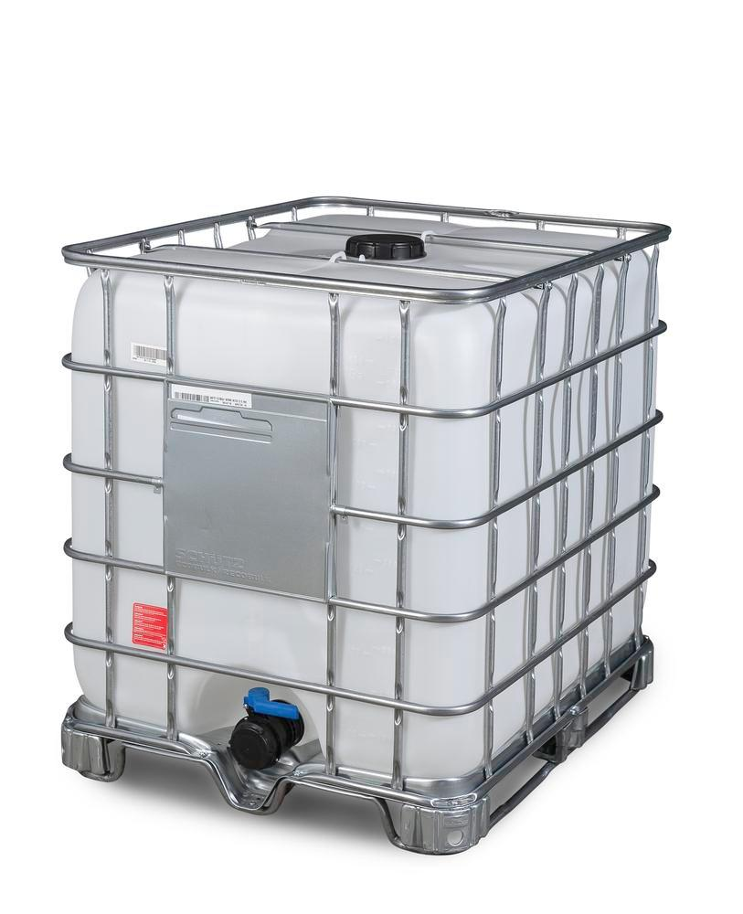 IBC hazardous goods container, steel runners, 1000 litre, NW150 opening, NW80 drain
