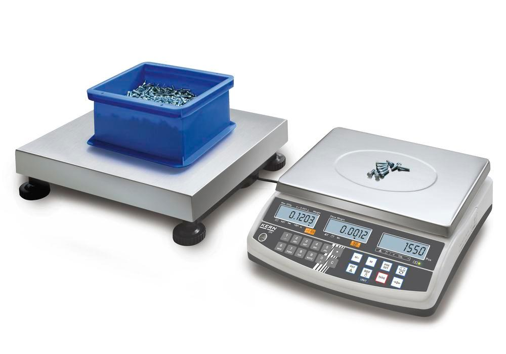 KERN counting scale CCS, up to 15 kg, min. part weight 0.05 g/unit, weighing plate 300 x 240 mm
