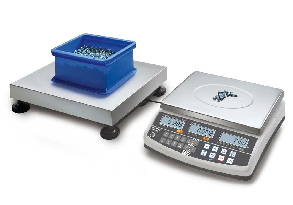 KERN counting scale CCS, up to 150 kg, min. part weight 1.0 g/unit, weighing plate 500 x 400 mm
