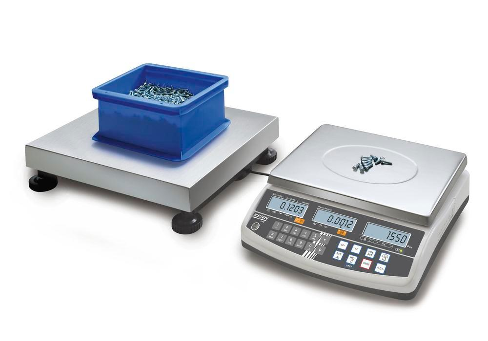 KERN counting scale CCS, up to 600 kg, min. part weight 0.5 g/unit, weighing plate 1000 x 1000 mm