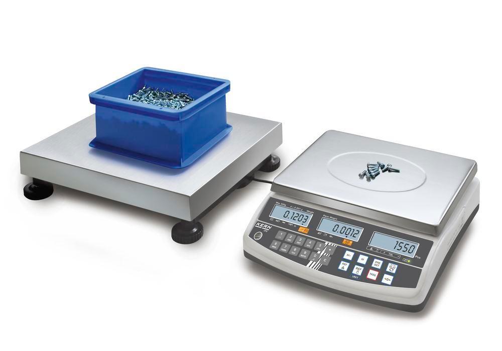 KERN counting scale CCS, up to 600 kg, min. part weight 0.5 g/unit, weighing plate 840 x 1300 mm