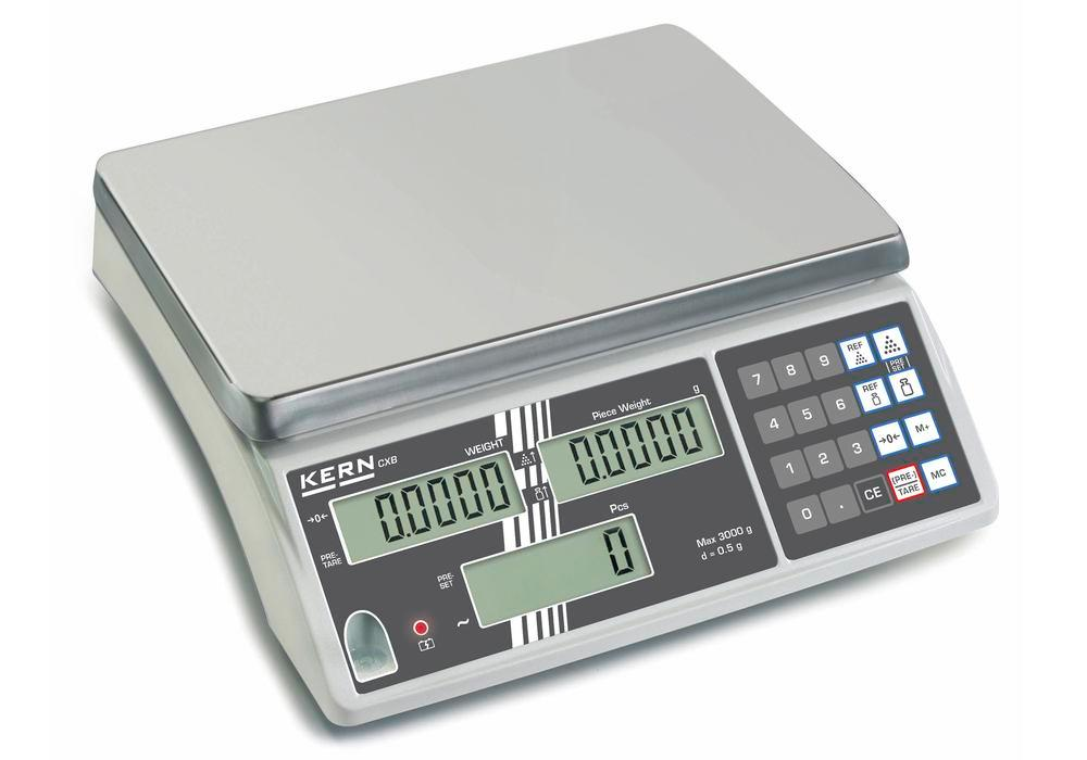KERN counting scale CXB, verifiable, up to 3 kg, min. part weight 1.0 g/unit