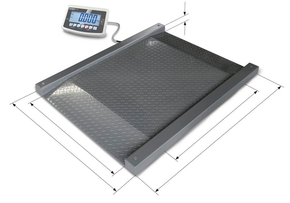 KERN drive through scale NFB, IP 67, verifiable, up to 600 kg, weighing plate 1200 x 1200 mm - 1