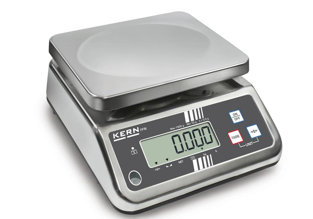KERN stainless steel bench scale FFN, IP 65, up to 1 kg - 1