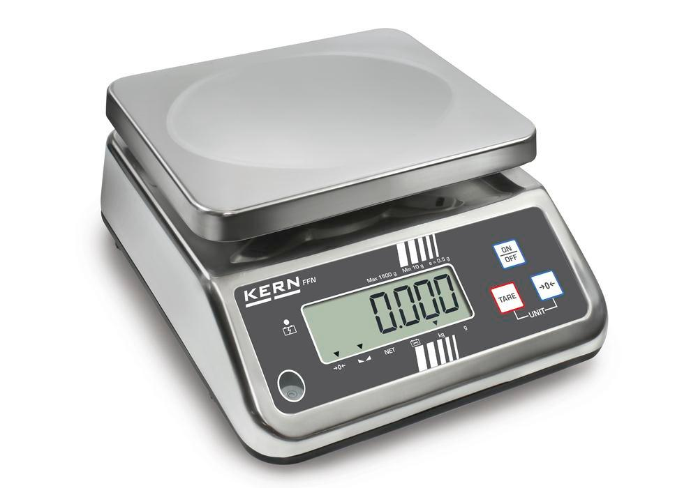 KERN stainless steel bench scale FFN, IP 65, up to 3 kg - 1
