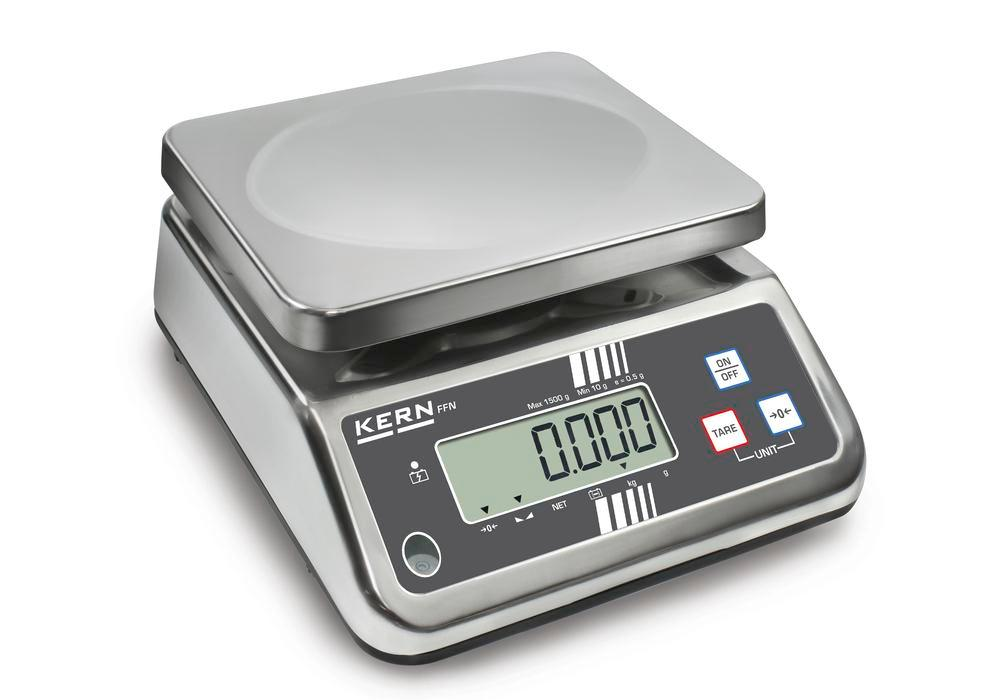 KERN stainless steel bench scale FFN, IP 65, verifiable, up to 1.5 kg