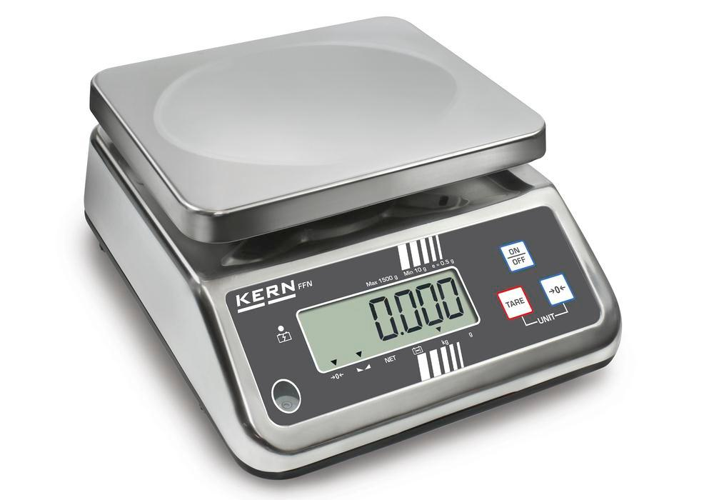 KERN stainless steel bench scale FFN, IP 65, verifiable, up to 25 kg