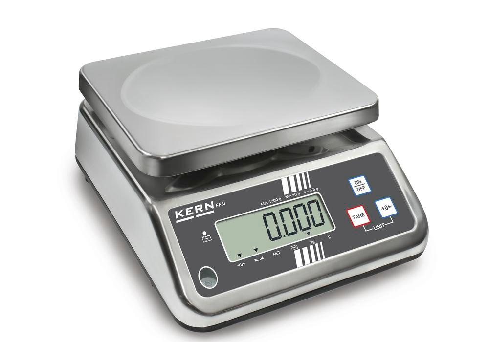 KERN stainless steel bench scale FFN, IP 65, verifiable, up to 3 kg - 1