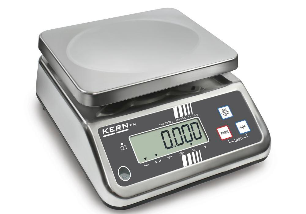 KERN stainless steel bench scale FFN, IP 65, verifiable, up to 6 kg - 1