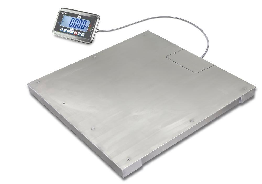 KERN stainless steel floor scale BFN, IP 68, verifiable, to 1.5 t, weighing plate 1000 x 1000 mm