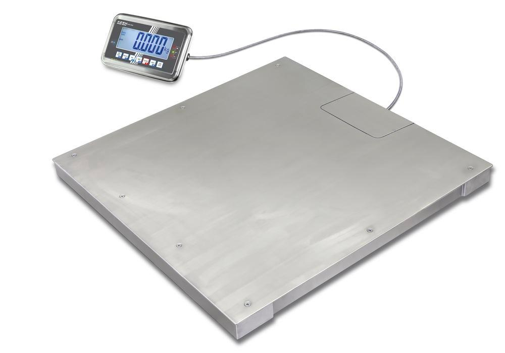 KERN stainless steel floor scale BFN, IP 68, verifiable, to 3 t, weighing plate 1500 x 1200 mm