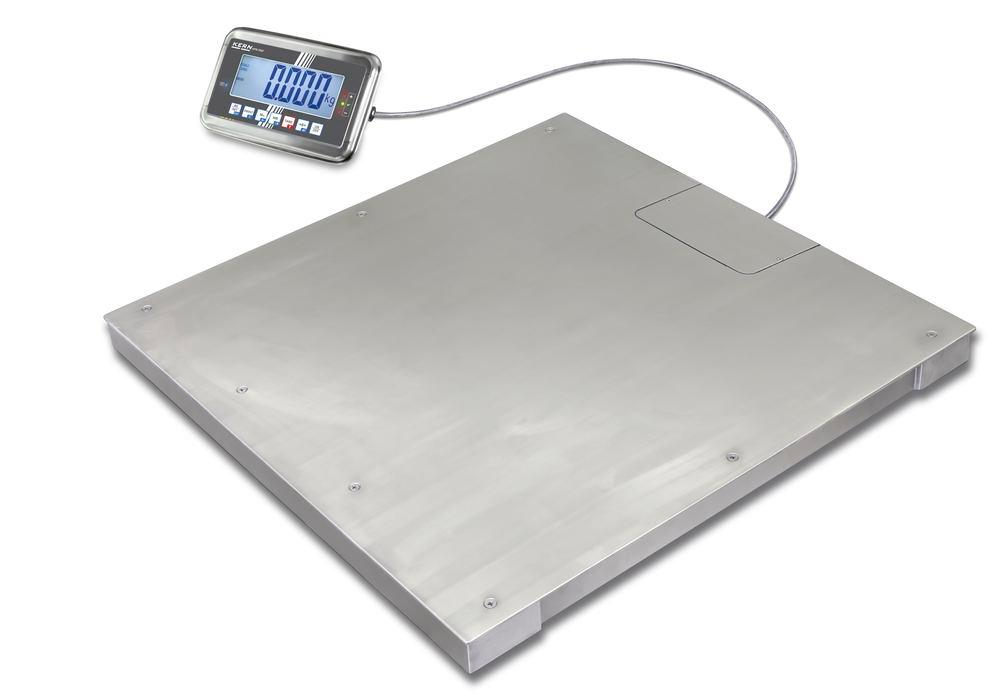 KERN stainless steel floor scale BFN, IP 68, verifiable, to 600 kg, weighing plate 1000 x 1000 mm