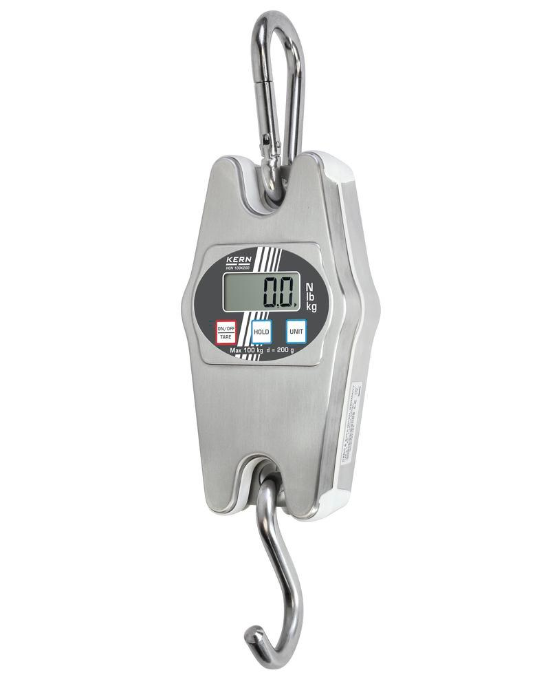 KERN stainless steel hanging scale HCN, IP 65, up to 100 kg