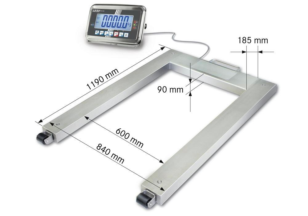 KERN stainless steel pallet scale UFN, IP 67, verifiable, up to 600 kg - 1