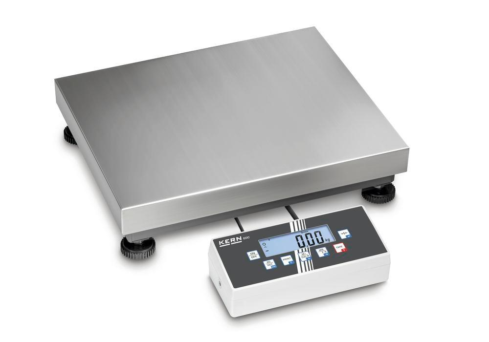 KERN two-range platform scale EOC, IP 65, up to 150 kg, weighing plate 300 x 300 mm