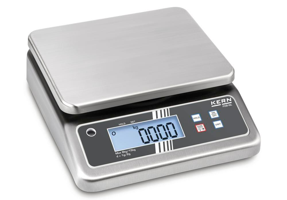 KERN two-range stainless steel bench scale FOB, IP 67, up to 30 kg