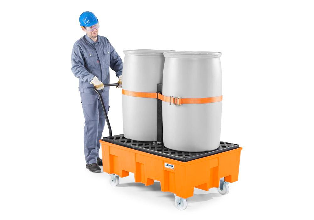 Load securing set for PE and steel spill trays, consisting of safety strap and support for 2 drums