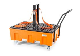 Load securing set for PE and steel spill trays, consisting of safety strap and support for 2 drums-w280px