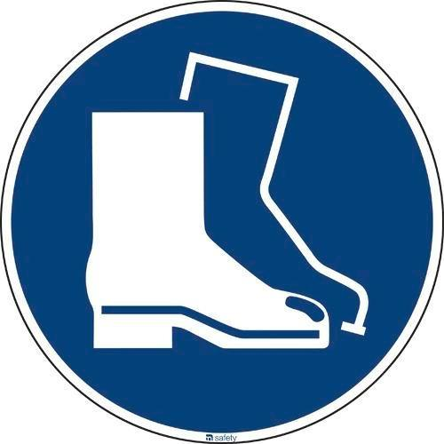 Mandatory sign Use foot protection, ISO 7010, foil 200 mm