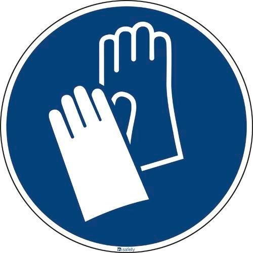 Mandatory sign Use protective gloves, ISO 7010, in aluminium 200 mm