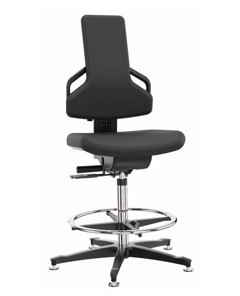 Premium work chair cover fabric black, floor glide, foot ring