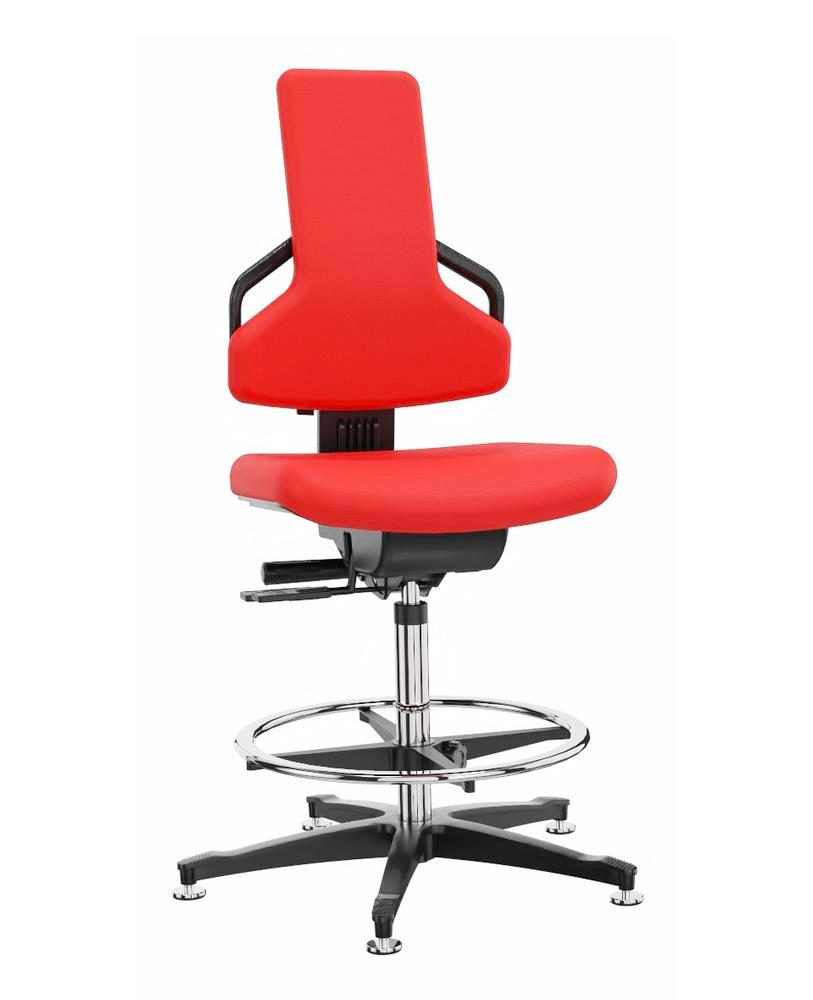 Premium work chair cover fabric red, floor glide, foot ring