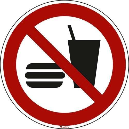 """Prohibition sign """"No eating or drinking"""""""", ISO 7010, foil 200 mm"""