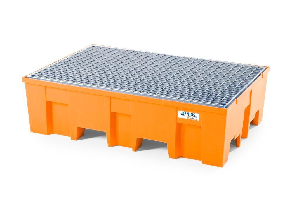 Spill pallet base-line in polyethylene (PE) for 2 drums, with galvanised grid - 1