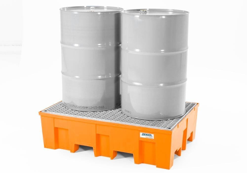 Spill pallet base-line in polyethylene (PE) for 2 drums, with galvanised grid - 2