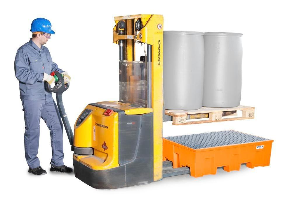 Spill pallet base-line in polyethylene (PE) for 2 drums, with galvanised grid