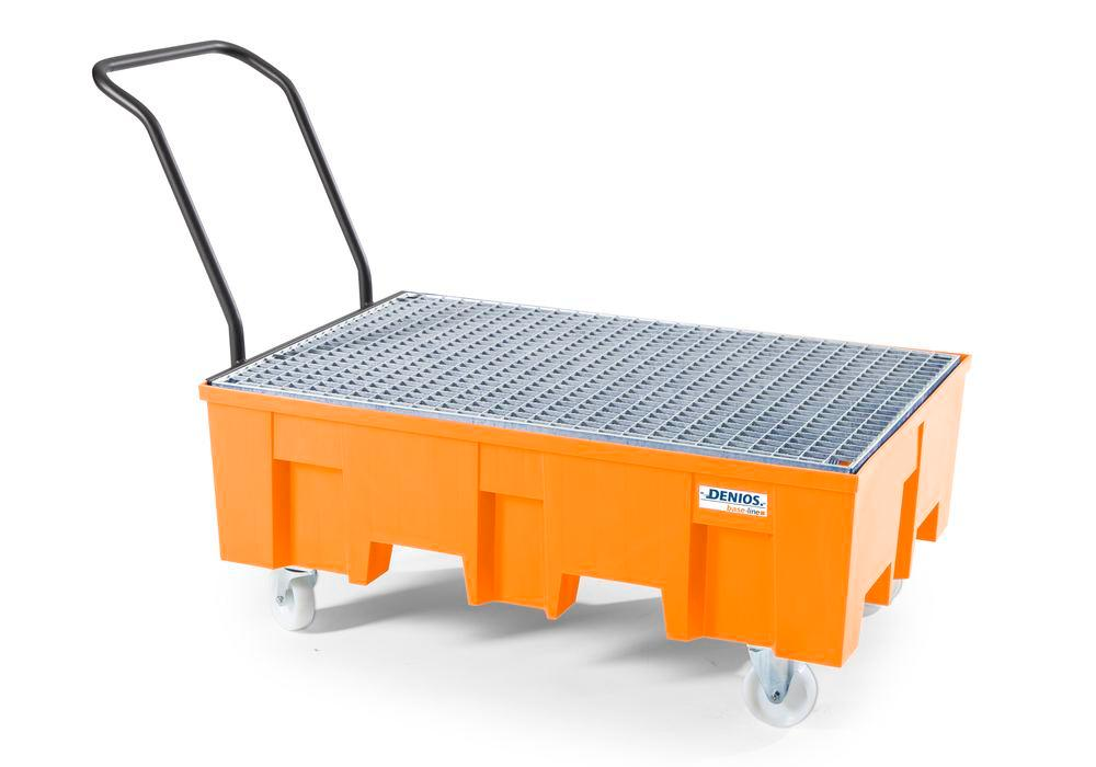 Spill pallet base-line in polyethylene (PE) for 2 drums, with galvanised grid, mobile